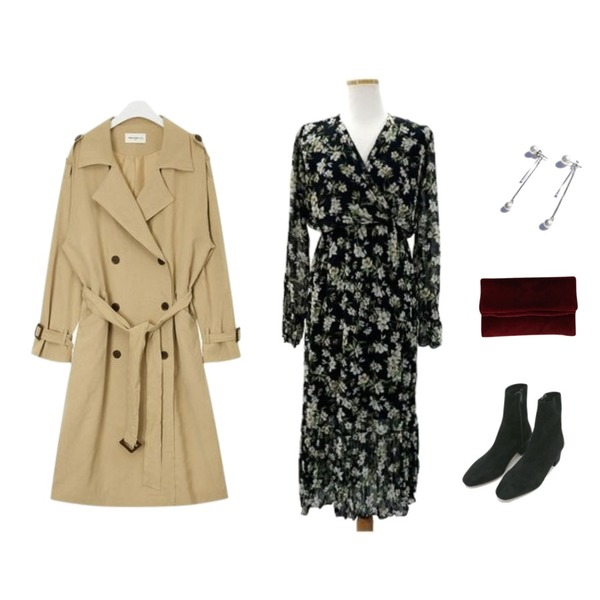 daily monday Dark suede ankle boots,AIN FRESH A spring daily trench coat,MOMORIT 쉬폰 브이넥 플라워 라일락 롱원피스 (2color)등을 매치한 코디