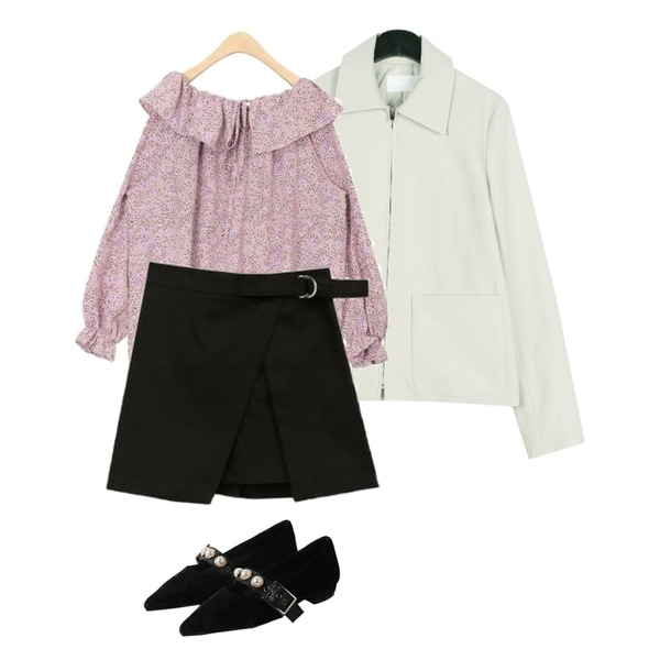 AIN dot frill spring blouse,daily monday Awesome simple jacket,BLINGIT 절개링벨트스커트등을 매치한 코디