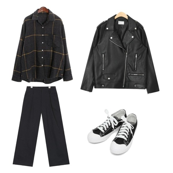 ROCOSIX hound check pocket shirts,AIN mickey wide cotton pants (s, m),AIN boxy fit unique rider jacket등을 매치한 코디
