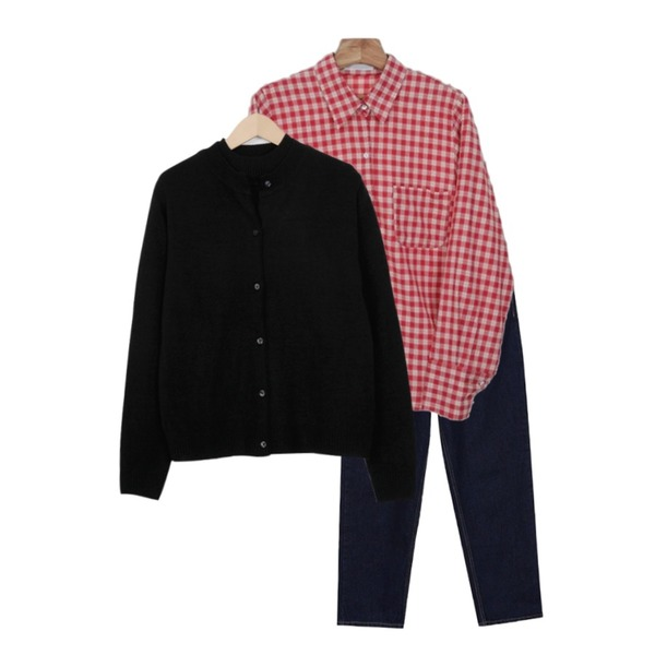 From Beginning Feeble cardigan knit set_H (size : free),Zemma World Ground-체크셔츠[size:44~66 / 3color],biznshoe Boy fit jeans (3color)등을 매치한 코디