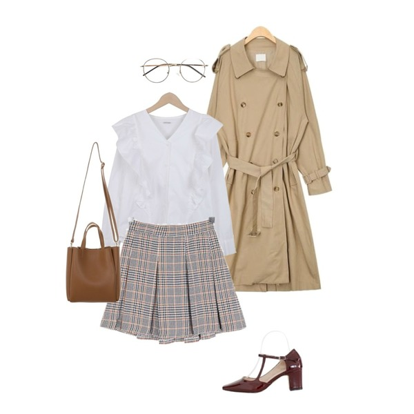 ROCOSIX coles round frame glasses,AIN dress codi trench coat,LOVELY SHOES 세턴 미들힐 펌프스 6cm등을 매치한 코디