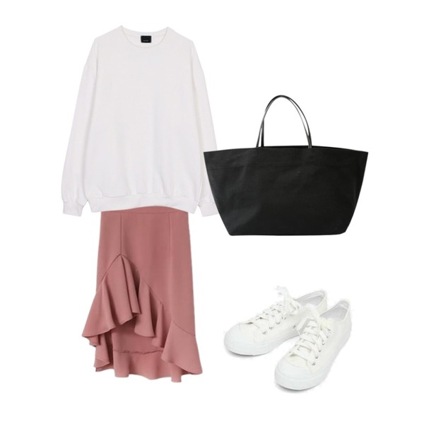 Cats Onepiece 언발란스 머메이드스커트,biznshoe Oversize napping mtm (5color),AIN basic monday sneakers (230-250)등을 매치한 코디