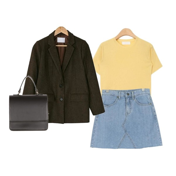 about moon vintage color denim skirts,AIN daily cotton candy knit (8 colors),BANHARU classic herringbone check jacket등을 매치한 코디
