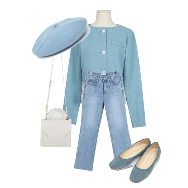 AIN maybe suede flat shoes (230-250),daily monday Light semi boots cut denim,From Beginning Bobby two-piece jacket_K (size : free)등을 매치한 코디