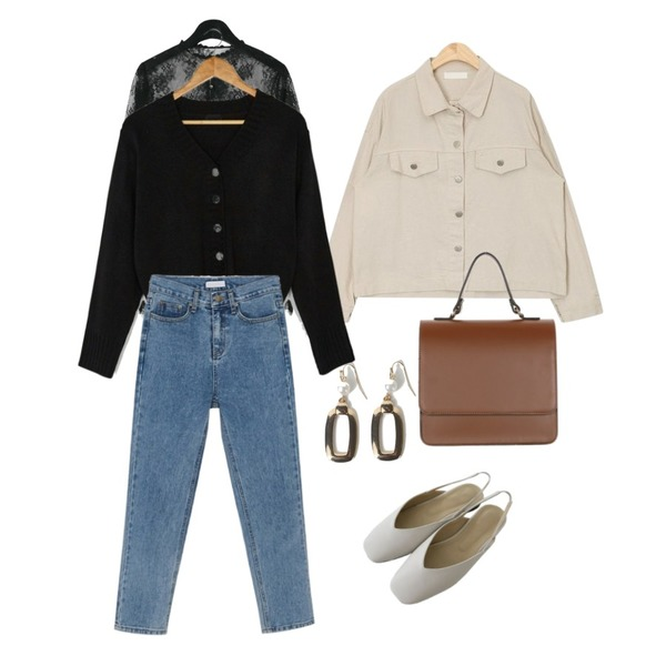 daily monday Lace sheer blouse,AIN basic droop shirt jacket,OBBANG STYLE 사각링 진주 이어링등을 매치한 코디