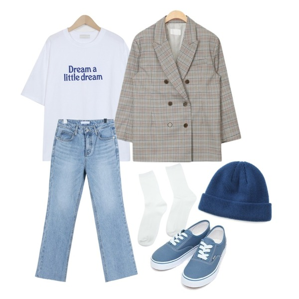 From Beginning Dream cotton half T_B (size : free),AIN core check jacket,daily monday Light semi boots cut denim등을 매치한 코디