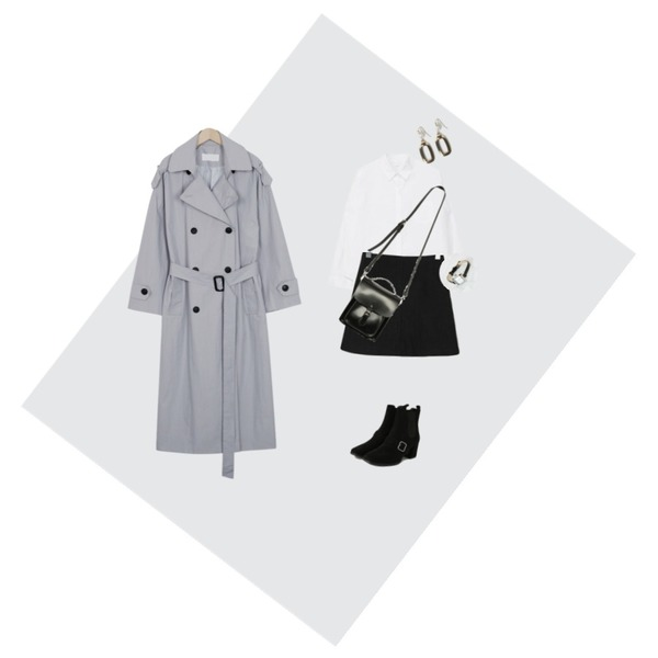 Grey,From Beginning Flow over trench coat_B (size : free),MIXXMIX Daily Simple Shirt등을 매치한 코디