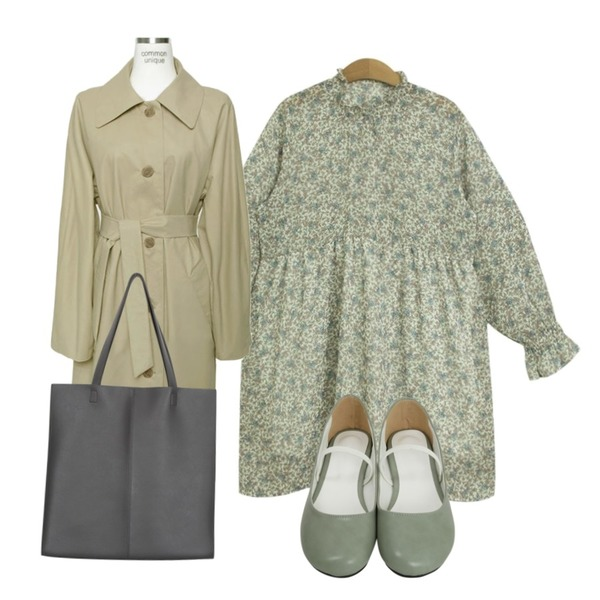 From Beginning Lip round mary-jane shoes_H (size : 230,235,240,245,250),common unique [OUTER] DRY SINGLE COTTON COAT,TODAY ME [dress]세피아 원피스(플라워 꽃 프릴 봄 미니 플레어OPS)등을 매치한 코디