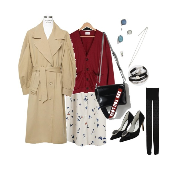 daily monday Fallen leaves one-piece,common unique [OUTER] WIDE PUFF TRENCH COAT,BULLANG GIRL 너만볼래요가디건♥남녀공용♥등을 매치한 코디