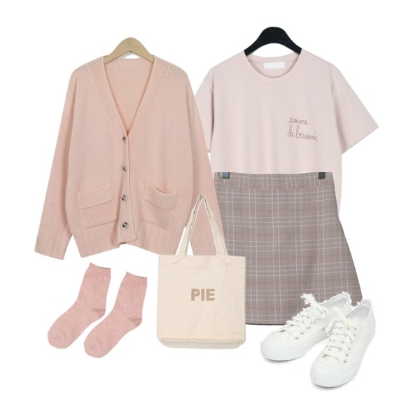 From Beginning Pocket pastel knit cardigan_H (size : free),daily monday Neat pastel lettering tee,OBBANG STYLE 멜로 체크 미니스커트등을 매치한 코디