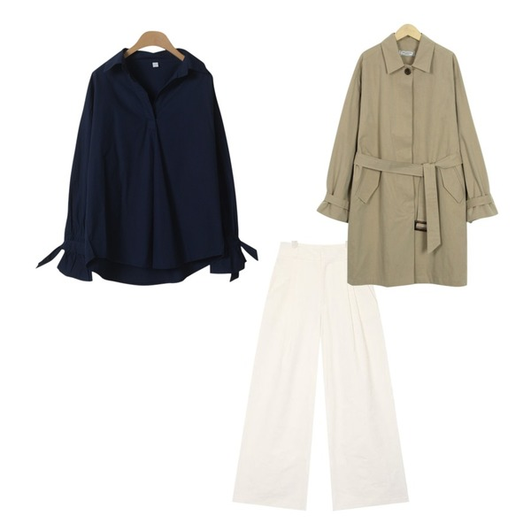 From Beginning Made_outer-115_washing mac coat_S (size : free),OBBANG STYLE 내추럴 셔츠 블라우스,AIN real wide cotton slacks (s, m)등을 매치한 코디