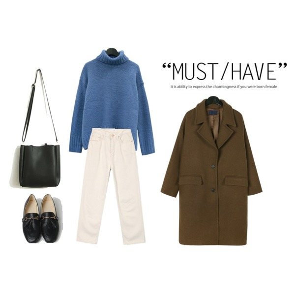 daily monday Alpaca turtleneck loose knit,daily monday Standard single wool coat,AIN boyish cotton pants (s, m)등을 매치한 코디