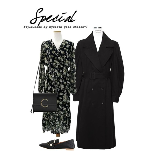 From Beginning Tassel point mini bag_K (size : one),MOMORIT 쉬폰 브이넥 플라워 라일락 롱원피스 (2color),common unique [OUTER] WIDE PUFF TRENCH COAT등을 매치한 코디