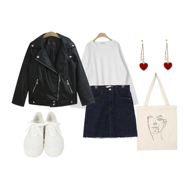 From Beginning Basic cotton sneakers_A  (size : 225,230,235,240,245,250),AIN drawing eco bag,OBBANG STYLE 토너먼트 오버핏 루즈티셔츠등을 매치한 코디