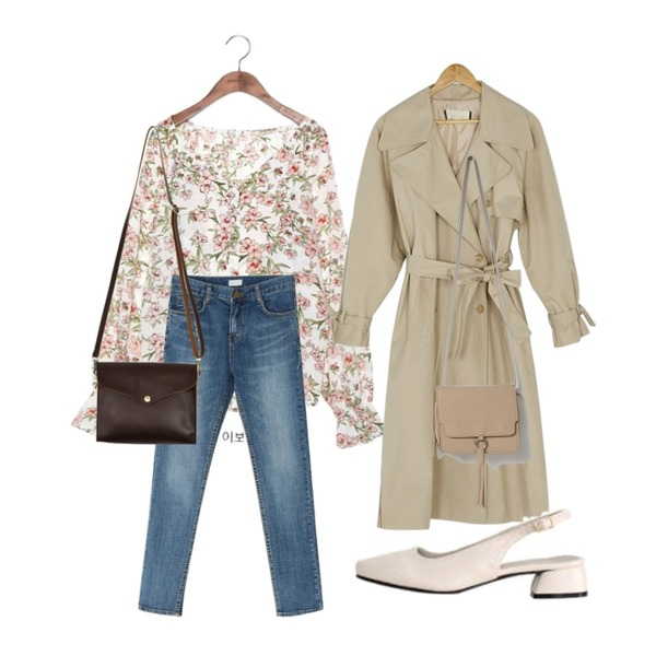 BANHARU sleeve point trench coat,common unique [TOP] LILY JEWELRY BUTTON BANDING BLOUSE,BANHARU slim line semi skinny등을 매치한 코디
