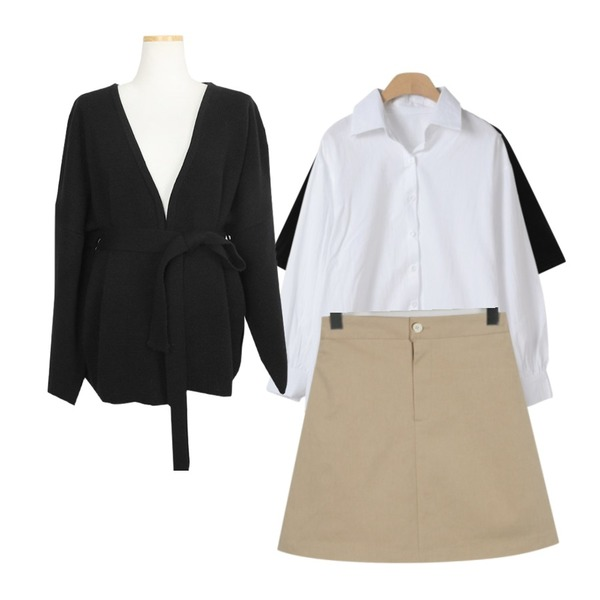 OBBANG STYLE 마일드 퍼프 남방,From Beginning Slop modal u-neck T_K (size : free),From Beginning Spring a-line cotton skirt_M (size : free)등을 매치한 코디
