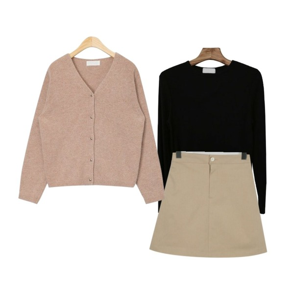 AIN lovable angora cardigan,From Beginning Spring a-line cotton skirt_M (size : free),Zemma World Often-야들야들골지티[size:44~66 / 4color]등을 매치한 코디