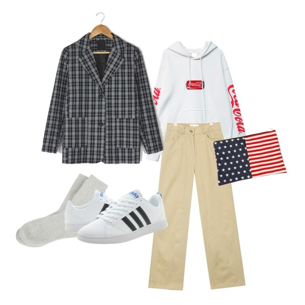 GIRLS RULE [남여공용] 코크 캔 후디 (t4357),BANHARU boxy fit two button check jacket,AIN very good wide cotton pants (s, m)등을 매치한 코디