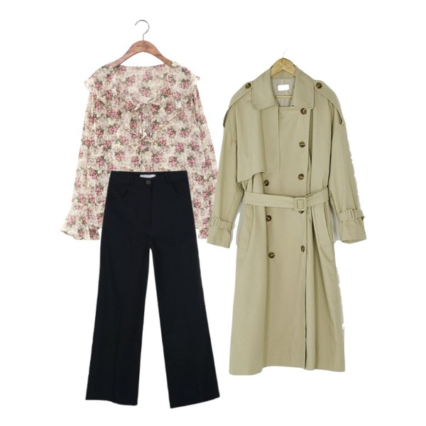 common unique [TOP] WAXFLOWER RUFFLE BLOUSE,BANHARU natural double button trench coat,myblin 데일리 코튼 하이와이드등을 매치한 코디