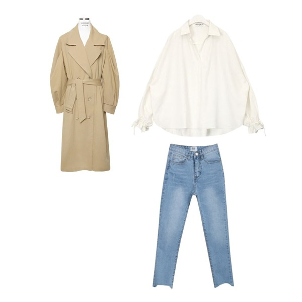 AIN FRESH A strap blouse,myblin 발목 컷팅 라이트블루 진,common unique [OUTER] WIDE PUFF TRENCH COAT등을 매치한 코디