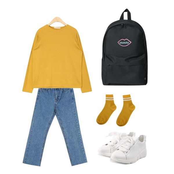 ROCOSIX wide ribbon shoes,AIN basic wonder T,daily monday Fresh cutting denim등을 매치한 코디