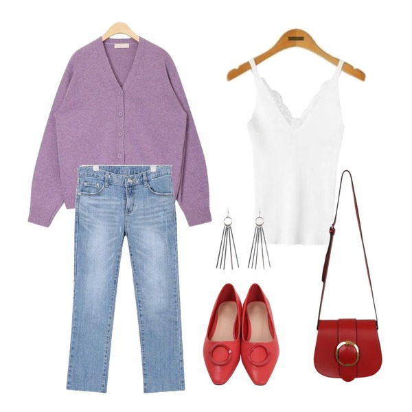 AIN neat sensual wool cardigan,From Beginning Ring stiletto flat shoes_H (size : 225,230,235,240,245,250)[3월 중순 입고예정],AIN bas line denim pants (s, m, l)등을 매치한 코디