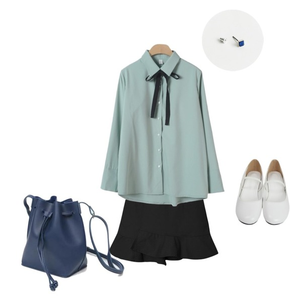 daily monday minimi stone shape earring,AIN lucky string bucket bag,From Beginning Lip round mary-jane shoes_H (size : 230,235,240,245,250)등을 매치한 코디