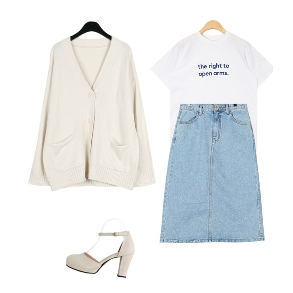 AIN open arms lettering T,daily monday Denim midi long skirt,daily monday Mild adorable cardigan등을 매치한 코디