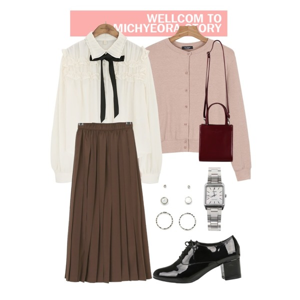 Untitled,daily monday Daily basic cardigan,common unique [TOP] COLLAR FRILL TIE CHIFFON BLOUSE등을 매치한 코디
