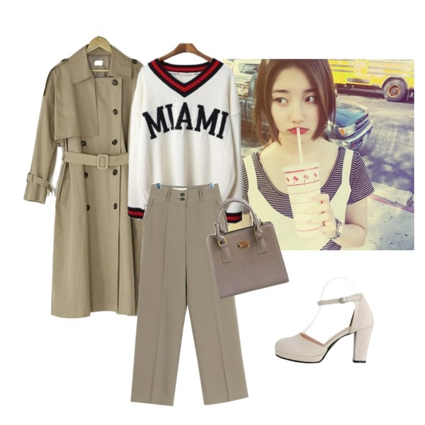 -,LOVELY SHOES 제로스 메리제인 펌프스 8.5cm,BANHARU natural double button trench coat등을 매치한 코디