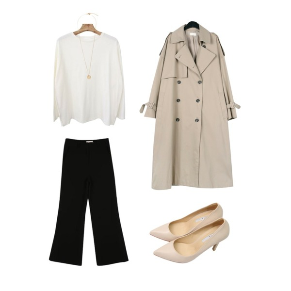 CHLO.D.MANON 오웬 와이드 슬랙스,daily monday Over casual trench coat,Zemma World Mylo-트임루즈핏티[size:44~66 / 6color]등을 매치한 코디