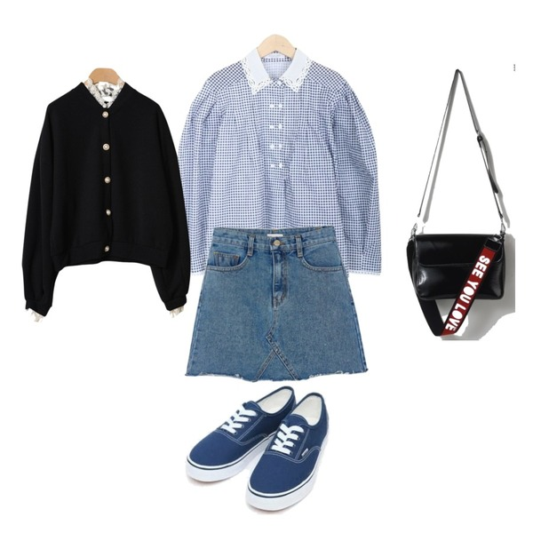 AIN daily casual sneakers (230-250),BANHARU free cutting denim skirt,myblin 고방체크 펀칭카라 블라우스등을 매치한 코디