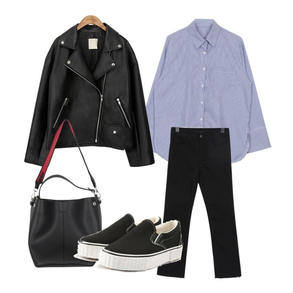 biznshoe Thin stripe shirts (2color),common unique [OUTER] BLACK PLAT RIDER JACKET,From Beginning Straight cutting cotton pants_S (size : 25,26,27,28,29,30)등을 매치한 코디