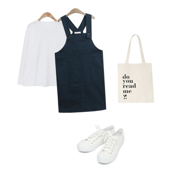 TODAY ME [dress]디케 멜빵 원피스(포켓 코튼 스판 롱 뒷트임ops),common unique [TOP] LOOSE FIT DAILY LONG SLEEVE T,AIN basic monday sneakers (230-250)등을 매치한 코디