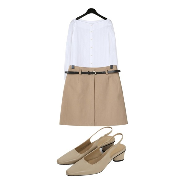 From Beginning Sharp toe slingback shoes_S (size : 225,230,235,240,245,250)[3월 중순 입고예정],daily monday Adorable lip neck blouse,OBBANG STYLE 스퀘어 벨트SET 미니스커트등을 매치한 코디