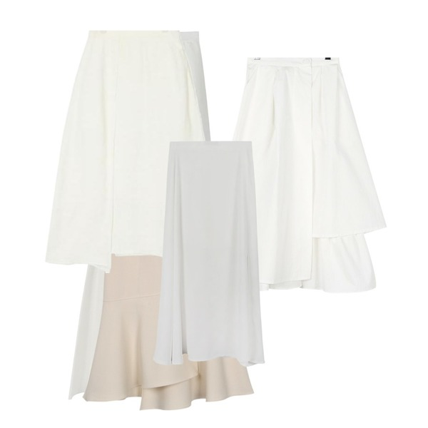 From Beginning Layer flare mermaid skirt_S (size : S,M),daily monday Natural unbal long skirt,daily monday Feminine line wool knit skirt등을 매치한 코디