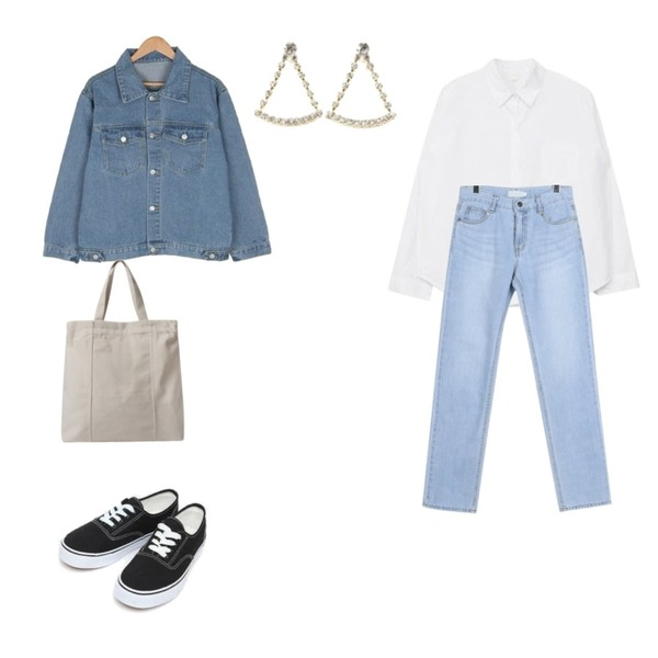 daily monday Cool lignt denim pants,MIXXMIX Daily Simple Shirt,BULLANG GIRL 사랑을원해데님JK등을 매치한 코디