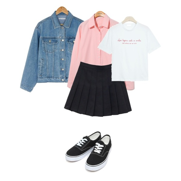 Reine Vincent Shirts,AIN daily casual sneakers (230-250),BANHARU refresh denim jacket등을 매치한 코디