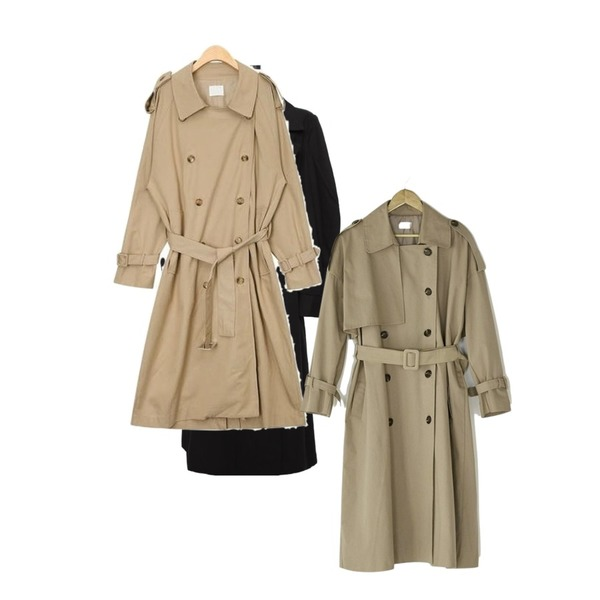 common unique [OUTER] WIDE PUFF TRENCH COAT,AIN dress codi trench coat,BANHARU natural double button trench coat등을 매치한 코디