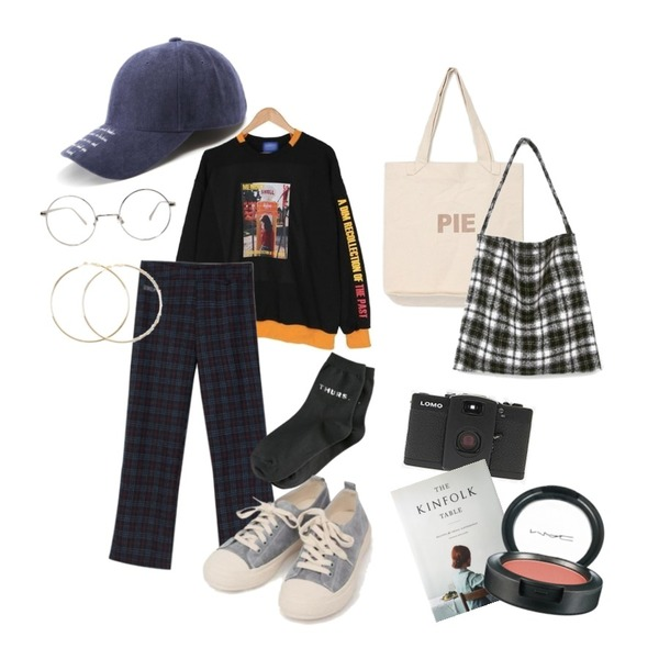 MIXXMIX Check Pants,From Beginning Roll simple frame glasses_S (size : one),BULLANG GIRL 미끄럼틀MTM♥남녀공용♥등을 매치한 코디