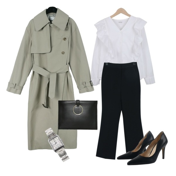 daily monday Three button trench coat,From Beginning Fit banding boots-cut slacks_M (size : S,M),myblin 프릴 포인트 블라우스등을 매치한 코디