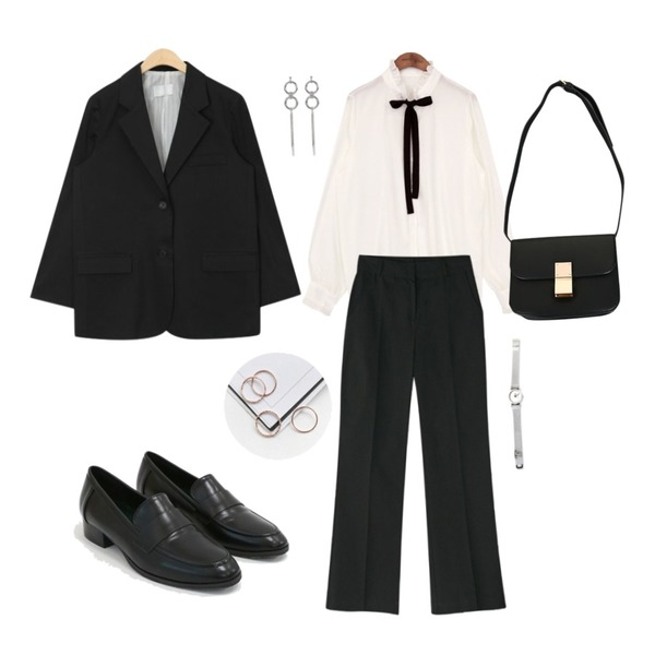 daily monday Charming basic loafer,common unique [TOP] HALF NECK FRILL TIE CHIFFON BLOUSE,AIN boy fit single jacket등을 매치한 코디