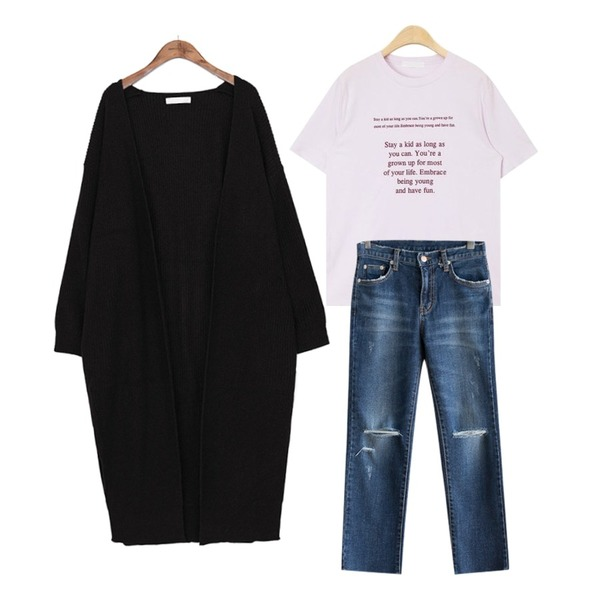 common unique [OUTER] HAJJI DEEP SLIT LONG CARDIGAN,AIN stay a kid typo T,JCOMMA 더치 데님 팬츠등을 매치한 코디