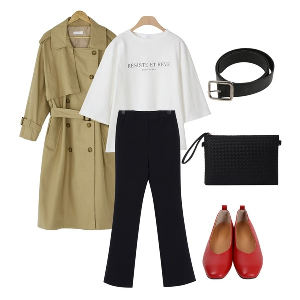 From Beginning Wearable loose-fit slacks_K (size : S,M),BANHARU natural trench coat,OBBANG STYLE 에코 레터링 7부티셔츠등을 매치한 코디