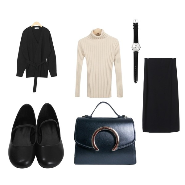AIN holly wrap wool cardigan,From Beginning Lip round mary-jane shoes_H (size : 230,235,240,245,250),myblin 쫀쫀 골지 목폴라 (7color)등을 매치한 코디