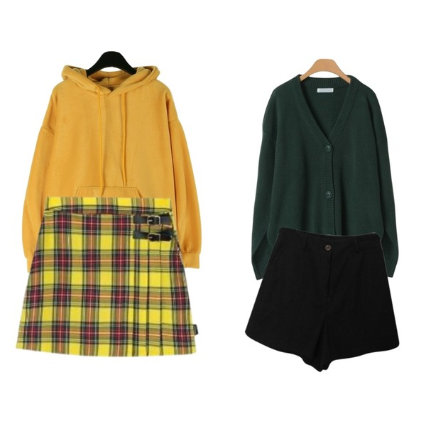 MIXXMIX Lonely Buckle Check Skirt,OBBANG STYLE 알리오니트가디건,daily monday Vivid smooth hood tee등을 매치한 코디