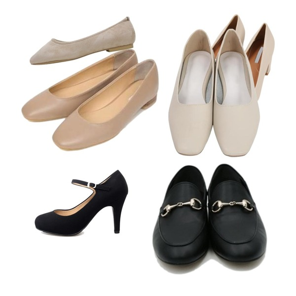 MINIBBONG 미들힐,AIN daily wooden flat shoes (4 colors),From Beginning Candy simple flat shoes_H (size : 225,230,235,240,245,250)등을 매치한 코디