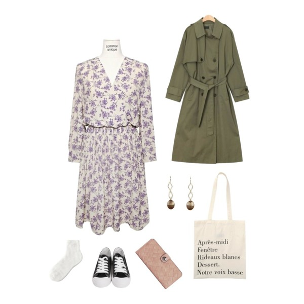 From Beginning Purcell cotton sneakers_M (size : 230,235,240,245,250),AIN grow up daily trench coat,common unique [OPS] CHERRY BLOSSOM FLOWER MINI OPS등을 매치한 코디