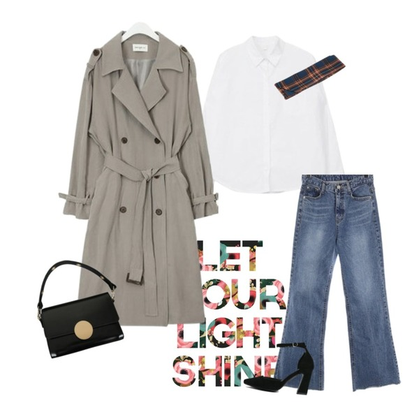 flower typo,AIN FRESH A spring daily trench coat,MIXXMIX Daily Simple Shirt등을 매치한 코디