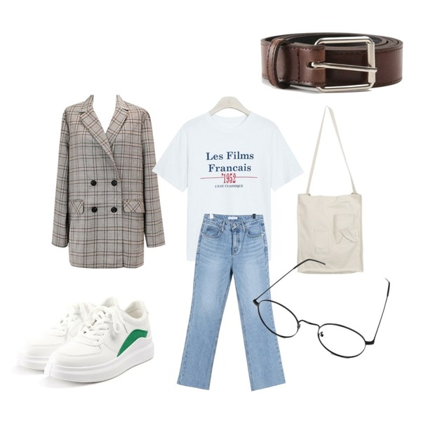 common unique [OUTER] FRENCH CHIC CHECK JACKET,daily monday Light semi boots cut denim,GIRLS RULE 1952 반팔티 (t4422)등을 매치한 코디
